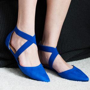 Elastic Criss Cross Ballet Flats (ROYAL BLUE)